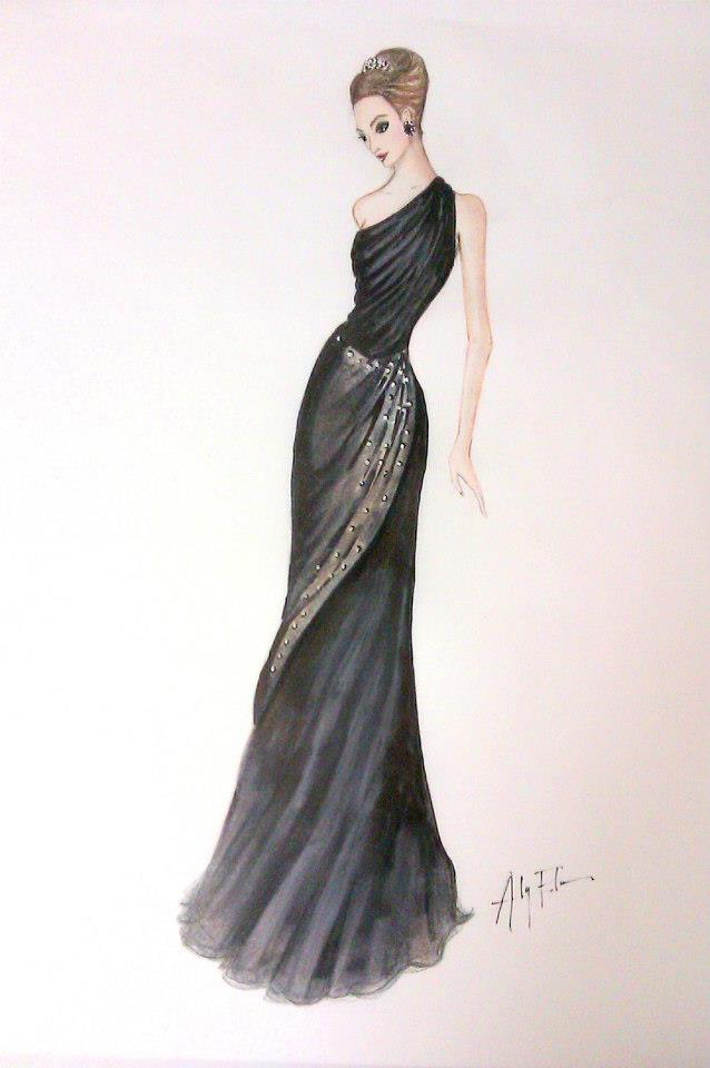 Fashionable dress sketches black
